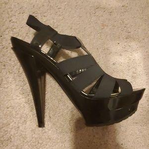 JS Black Elastic Patent heels